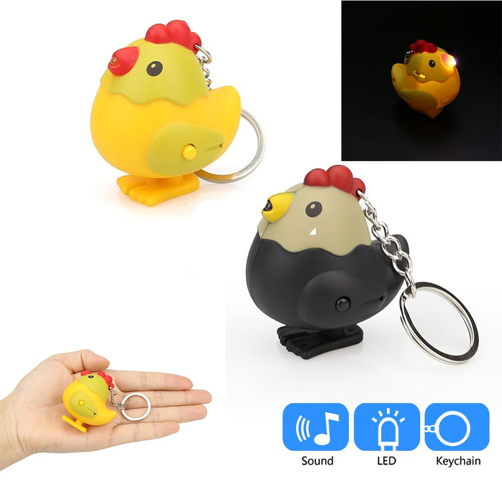 Novelty Cartoon Key Chain H Cute Penguin Keyring With LED Lights Sound