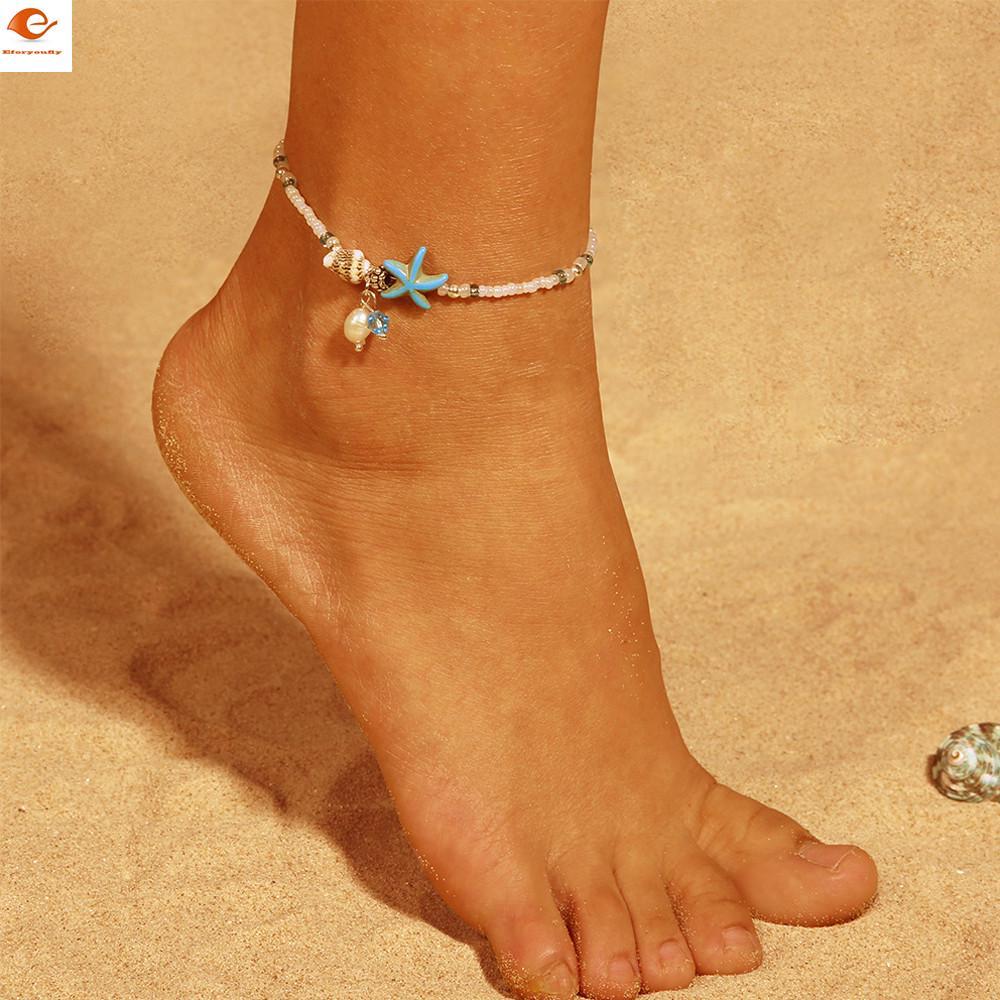 Sea corazón granos encantos pulseras pulseras estrellas De Mar Verano Bohemio Joyería de los pies
