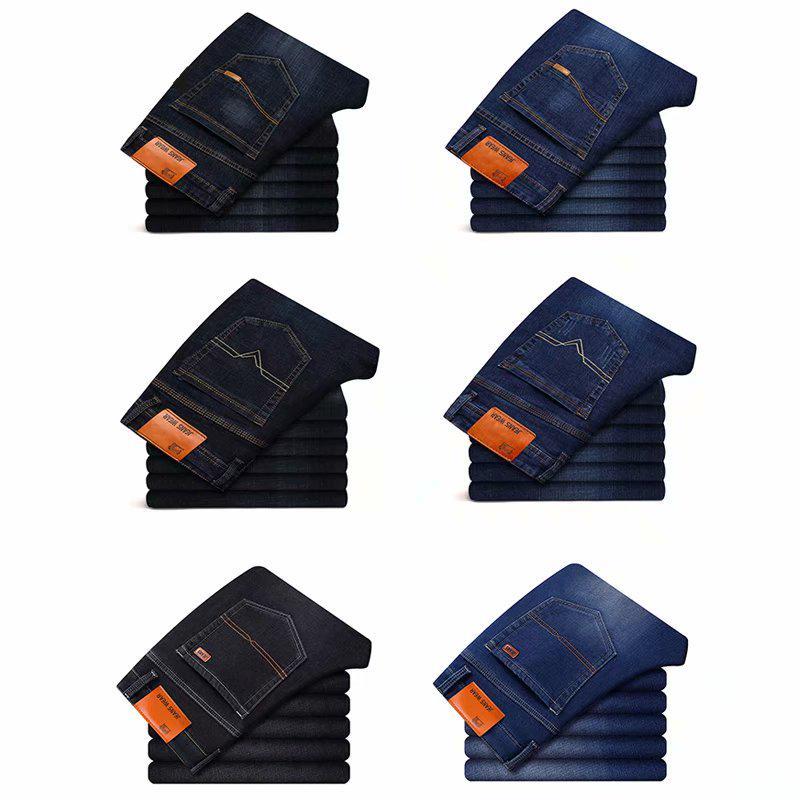Джинсы Классический Прямой Бизнес Случайный Тонкая эластичность синий черный для мужчин – купить по низким ценам в интернет-магазине Joom