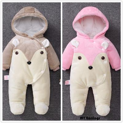 Infant Baby Girls Boys Winter Jacket Zip Thick Snowsuit Hoodie Coat Jumpsuit