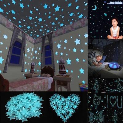 DIY 100Pcs Star 1 Moon Glow In The Dark Plastic Stickers Ceiling Wall Bedroom