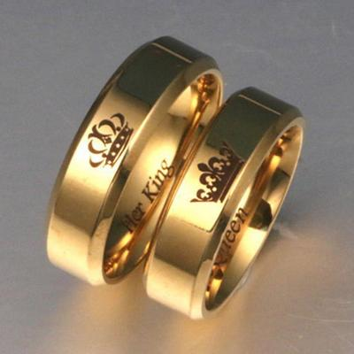3461af6837c922 Grzywna i jego królowa i jej król i para ze stali nierdzewnej Pierścień  Jego pierścionki odpowiadające