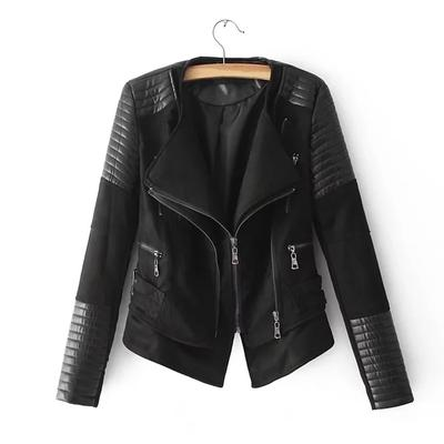 58e64ffc Women Slim Motorcycle PU Kurtka z miękkiej skóry Zipper Czarny płaszcz  znosić