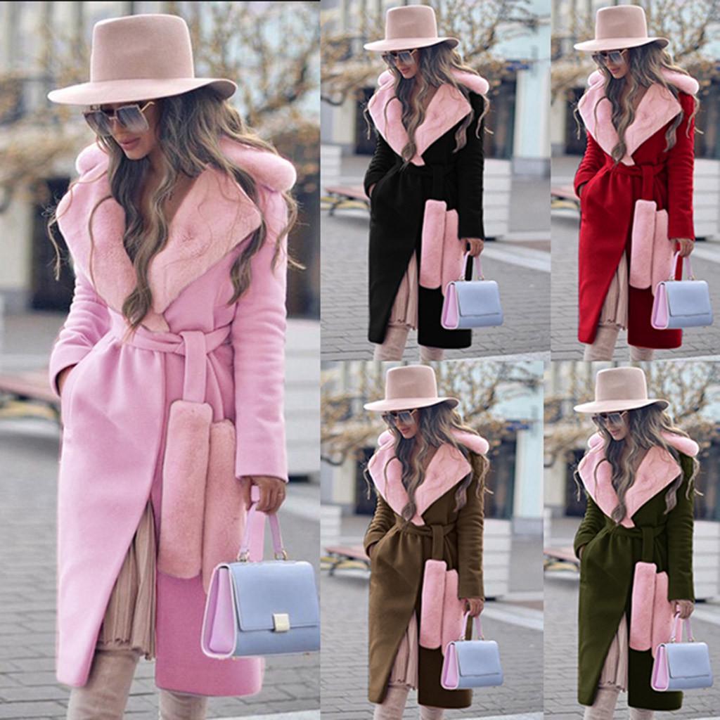 Зимняя теплая женская мода Thicken Поворот вниз воротник Шерстяной пальто с воротником – купить по низким ценам в интернет-магазине Joom