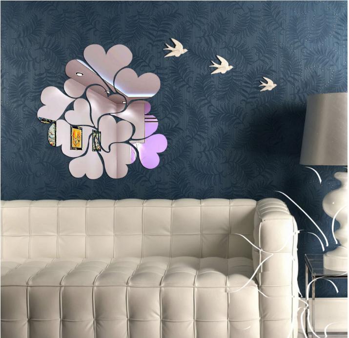 18szt Naklejki ścienne Lustro Decor Room Lustrzane Dekoracje Dekoracyjne