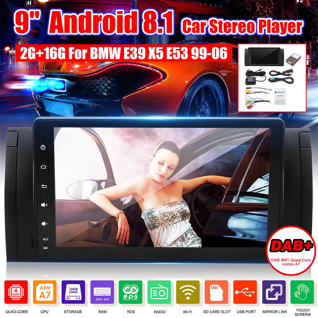 Android 8.1 HD 9in Single 1DIN Car Stereo Radio Player WIFI GPS Mirror Link OBD