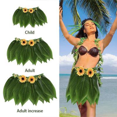 Hawaiian Grass Skirt Flower Hula Fancy Dress Adult Costume Summer Beach Party 0c