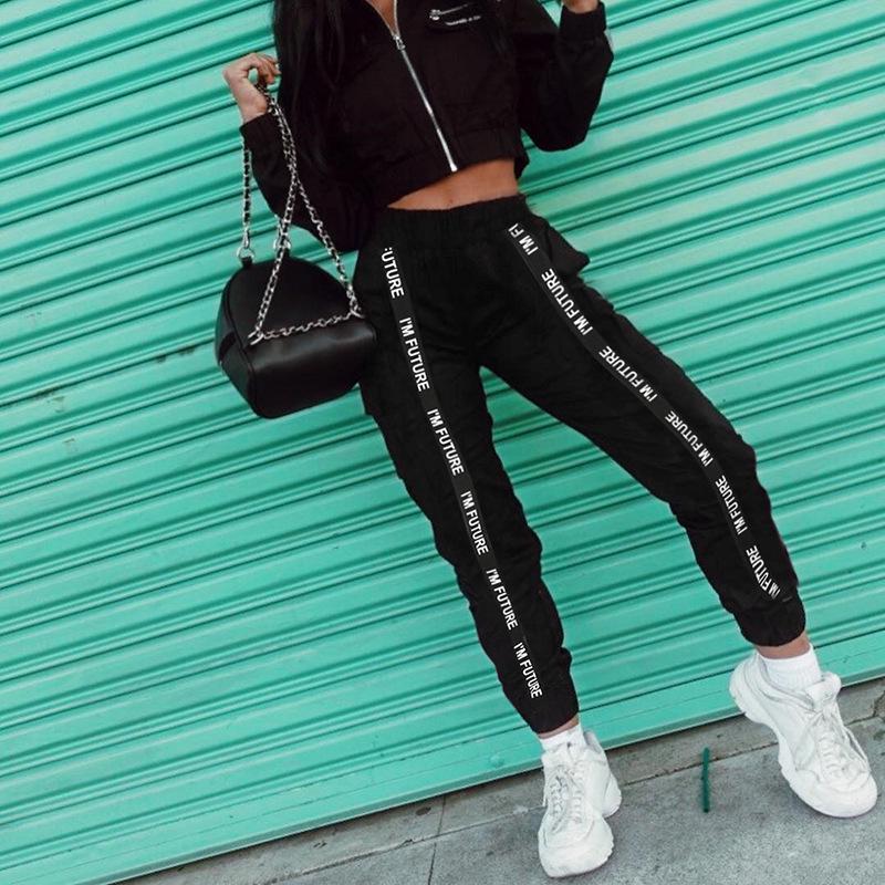 Гарем брюки брюки женщин полная длина свободные Jogger спортивный пояс черный случайный уличной моды фото