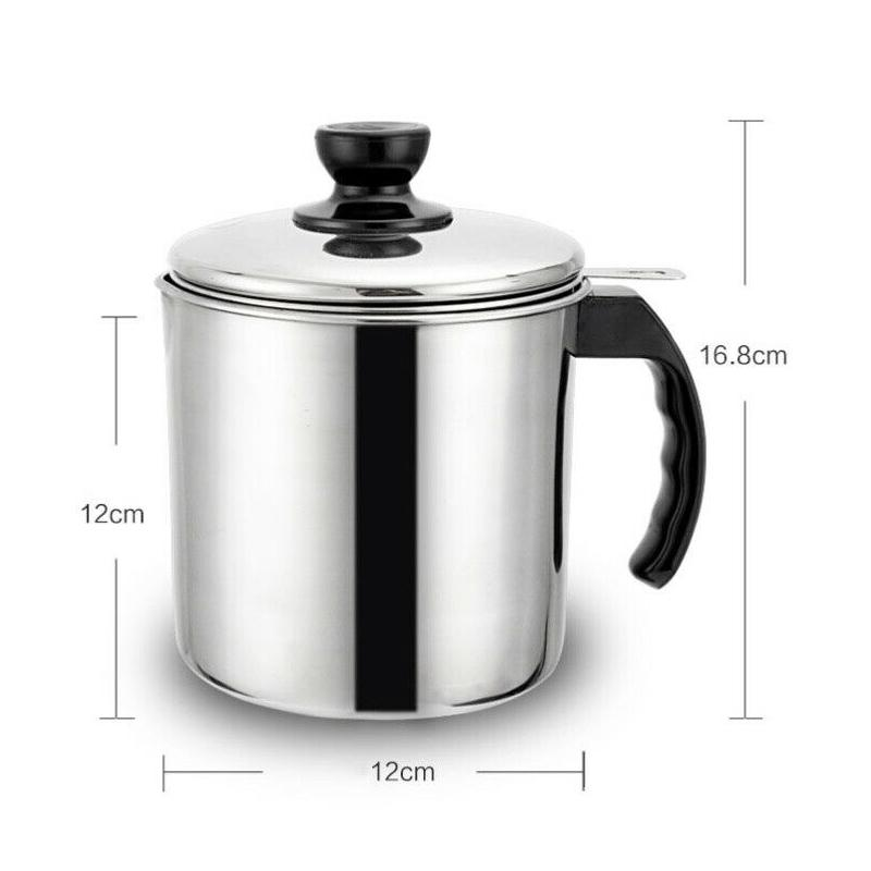 1.2L Oil Strainer Container Pot Jug Stainless Steel Storage Can Cooking Filter