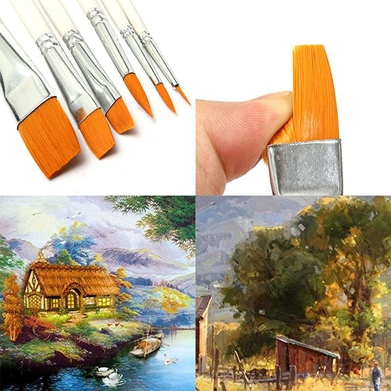 6 шт / набор живописи кисти масляной краской нейлон волос воды цвета живописи кисти акриловые кисти искусство набор фото