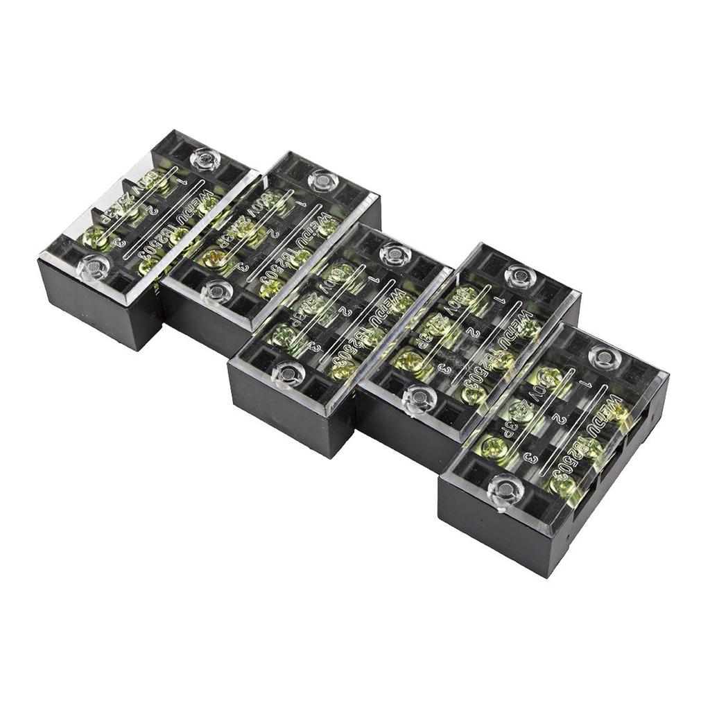 5 Pcs 3 Positions Dual Rows 600v 25a Wire Barrier Block Terminal Kits Kt Cables Automotive Electrical Industrial Wiring Male 2 Of 4