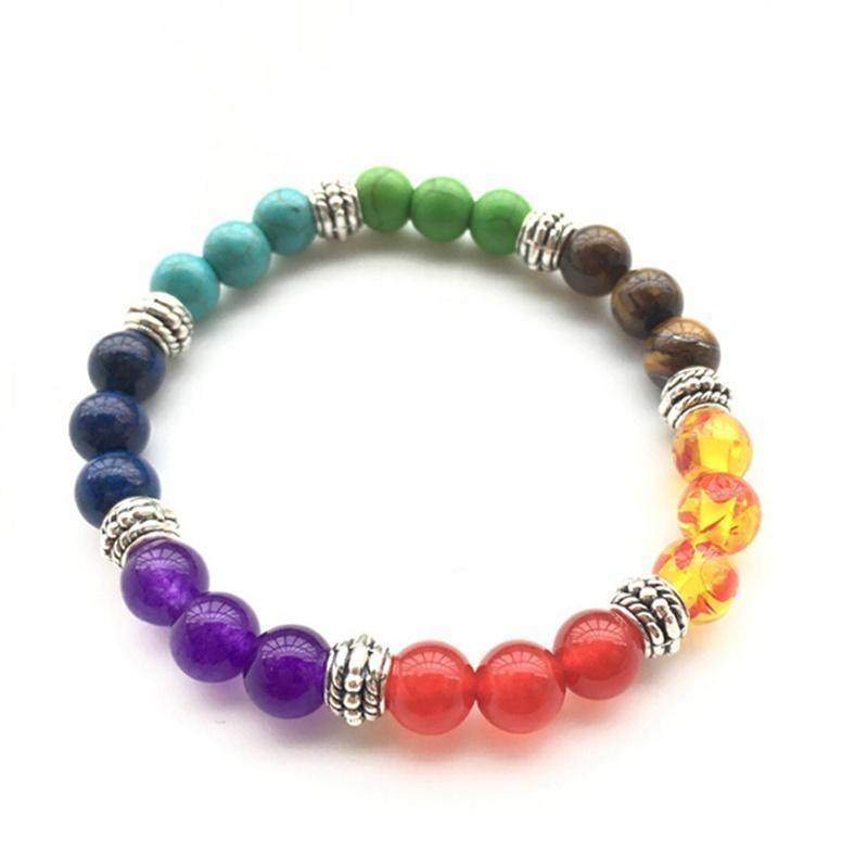 Prayer Jewelry 8mm Beads Bracelet Aurastone Seven-color Rainbow 7 Chakra