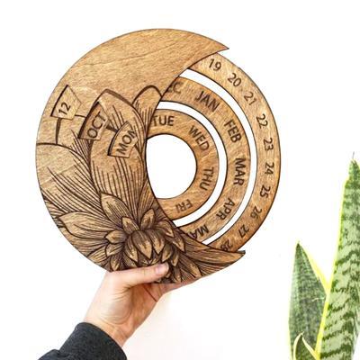 Calendar Wooden Everlasting Perpetual Wall Hanging Crafts Decorative Xmas Gift