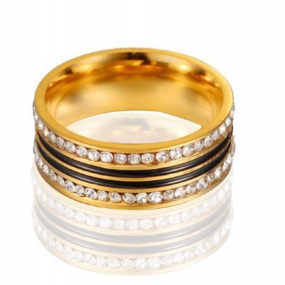 Moda Unisex Inox Doua Randuri De Diamante Trupa Inel Bijuterii Cadou