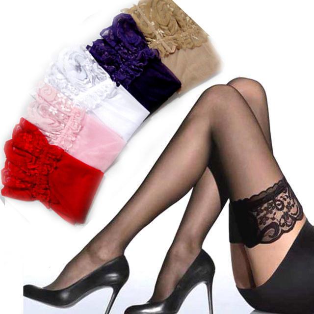 2017 сексуальные LaceTop остаться вверх чулок женщин длинные бедра колено высокие чулки колготки белье фото