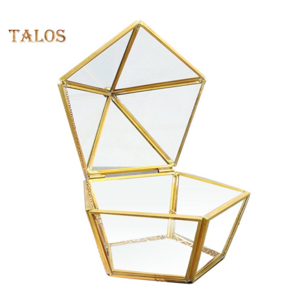 Transparent Geometric Glass Pentagons Cover Preserved Flower Holder Storage Box
