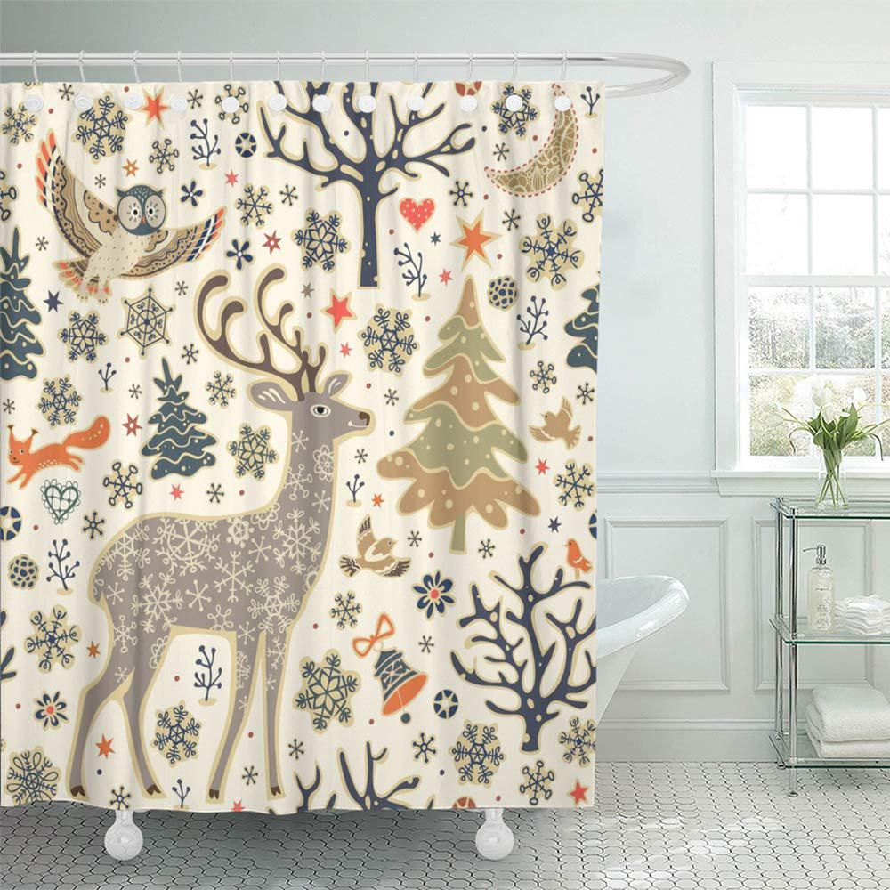 Forest Animals Woodland Christmas Owl Deer Squirrel Birds Trees Shower Curtains 66x72inch 165x180cm Buy At A Low Prices On Joom E Commerce Platform