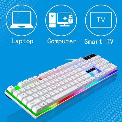 Xiao Jian Mechanical Keyboard and Mouse Set Color : B Notebook Desktop Computer Esports Game Backlight Keyboard USB Interface 104 Key Keyboard