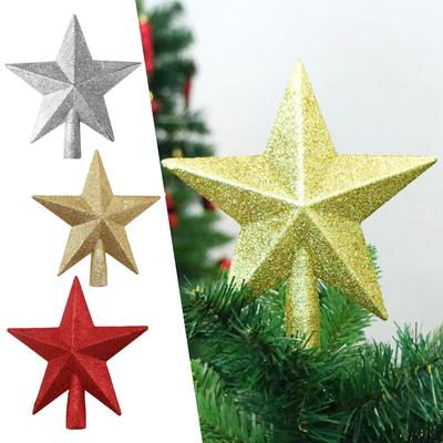 Christmas Tree Topper Treetop Star Glitter Home Decor Gold//Red//Silver UK Stock