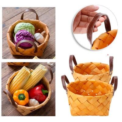 Wicker Rattan Fruit Basket Vegetable Basket Picnic Outdoor Garden Storage Basket Storage Bag Storage Basket Box Picnic Basket Fruit Flower Baskets Hand-Woven with Lace Photography Props