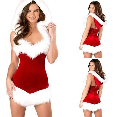a0fe4b37fc59 Women Sexy Lingerie Set Cosplay Costumes Miss Santa Suit Corset Dress Fancy  Hooded Dresses