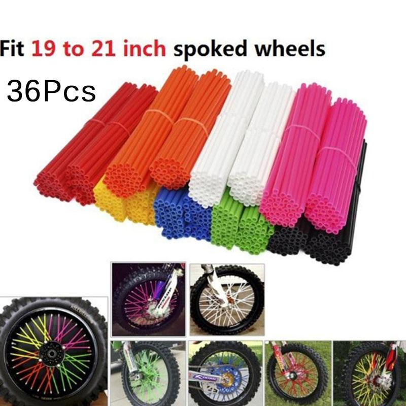 72 pcs Bike Spoke Reflector Bicycle Cycling Reflective Clips Universal Motocross Wheel Rim Spoke Cover Off Road Motorcycle Skins Wraps Kit Red