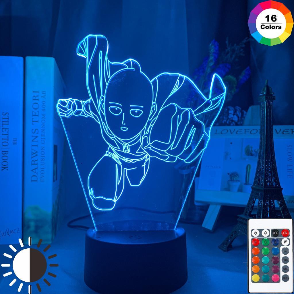 One Punch Man Saitama Figure Led Night Light Lamp For Home Decoration Nightlight Cool Manga Store Decor Ideas Table 3d Light Buy From 14 On Joom E Commerce Platform