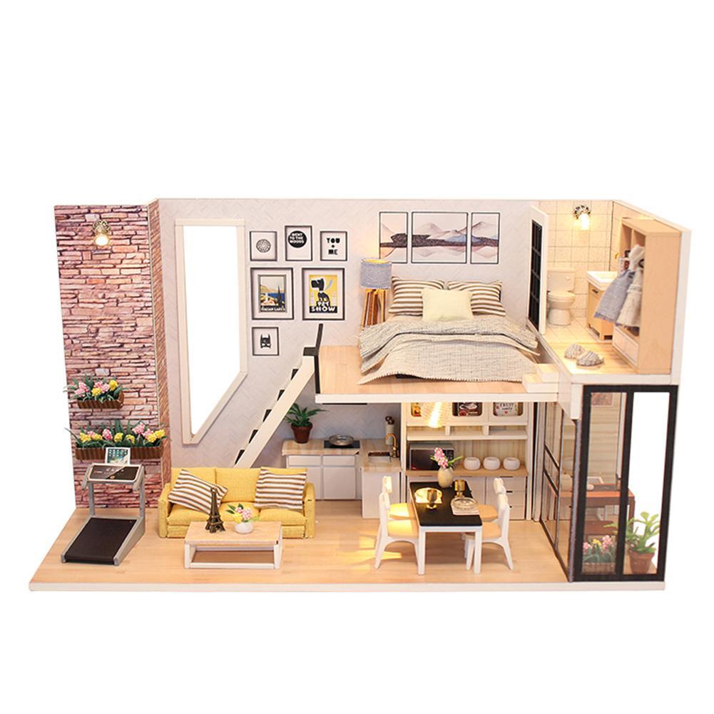Счастливый Кукольный дом миниатюрные DIY головоломки собрать мебель деревянный дом игрушки – купить по низким ценам в интернет-магазине Joom