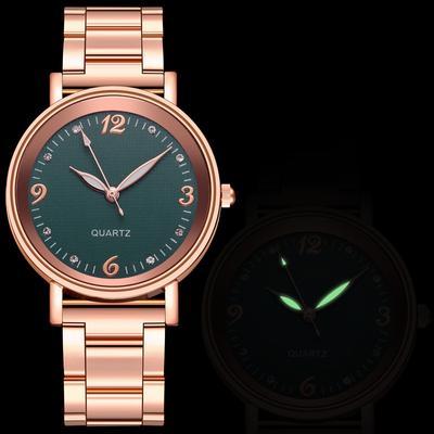 Luminous Watch Ladies Stainless Steel Band Casual Quartz Watch