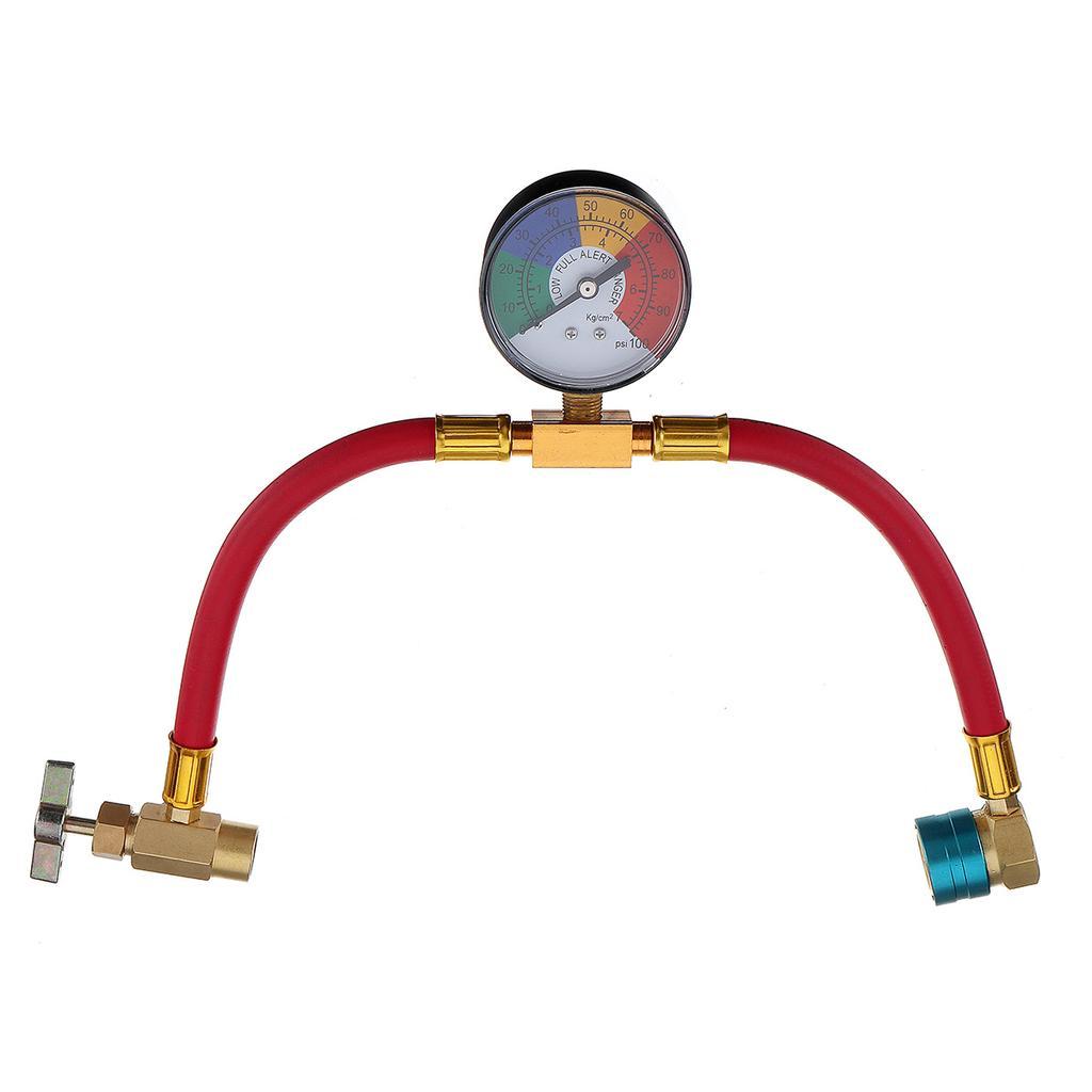 100PSI Gauge Couplers Refrigerant Can Taper R-1234yf A//C Service Charging Hose