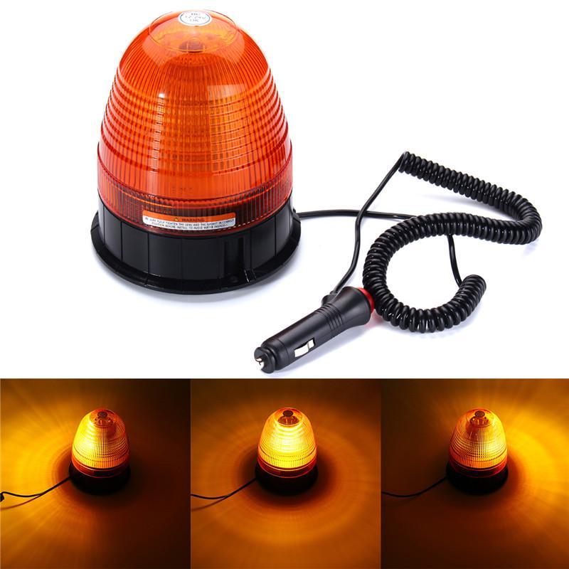 12v 24v Flashing Revolving Rotating 60 LED Warning Light Amber Emergency Road