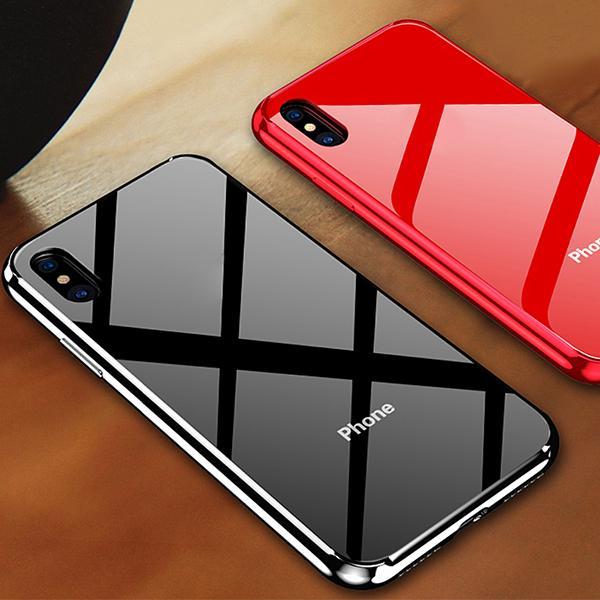 Телефон Дело Роскошь Anti-царапина Закаленное стекло Назад для Samsung Huawei Xiaomi OpPO A1K VIVO Y11 Дело Усиленный TPU PC