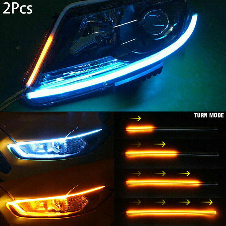2PCS Полоса Light Car Лампа 60см Бегущий сигнал Поворот flowing LED DRL дневное время фото