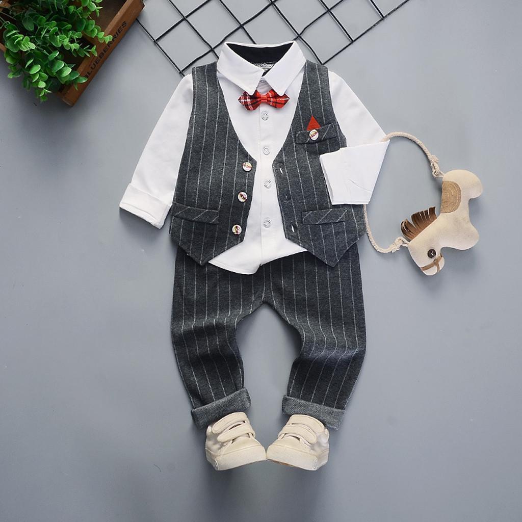 Baby Boy Gentleman Abiti Bambino Manica Corta Pagliaccetto Pantaloni Papillon Salopette Abbigliamento Set