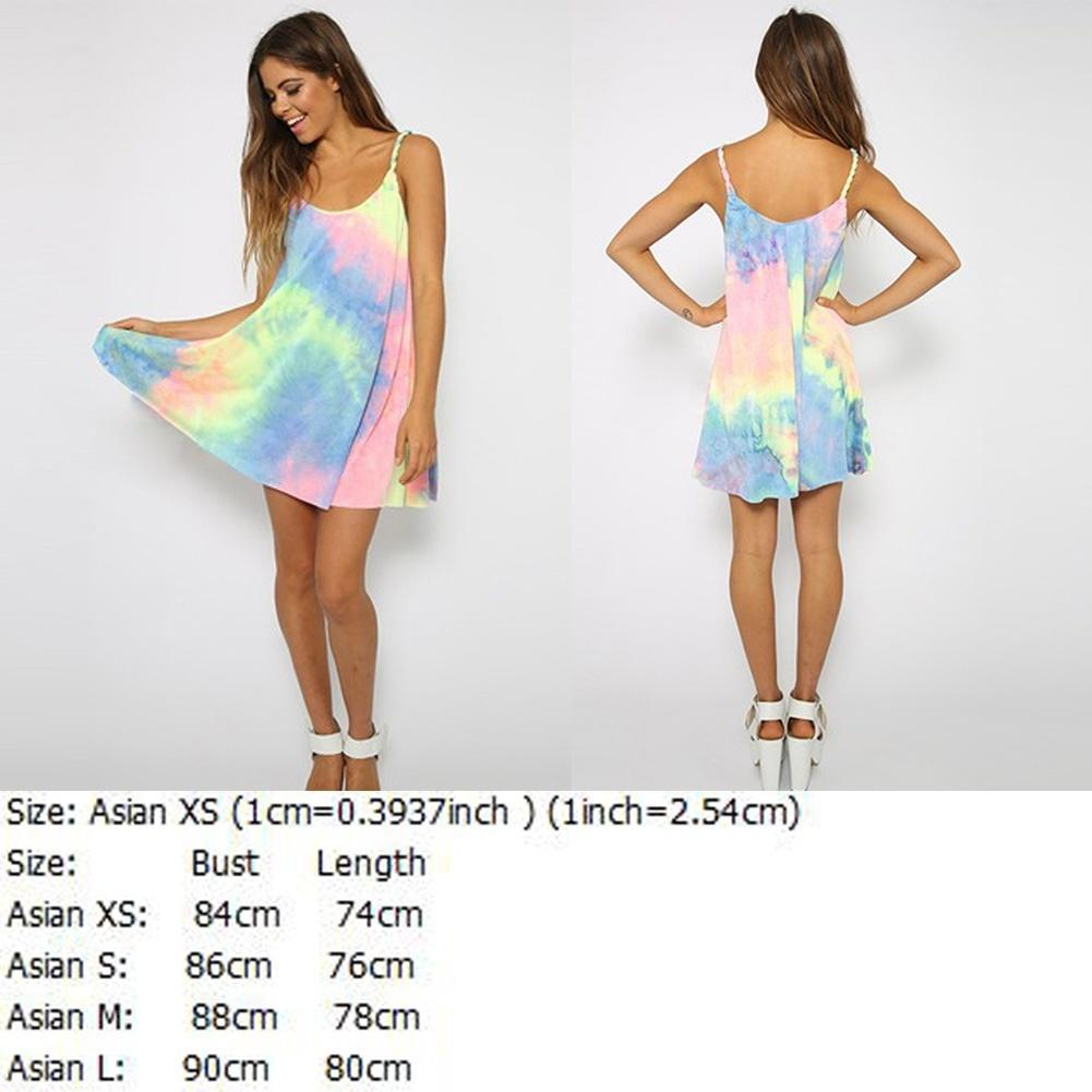 Sexy Women Tie-Dyed Colored Braid Straps Loose Beach Casual mini ...