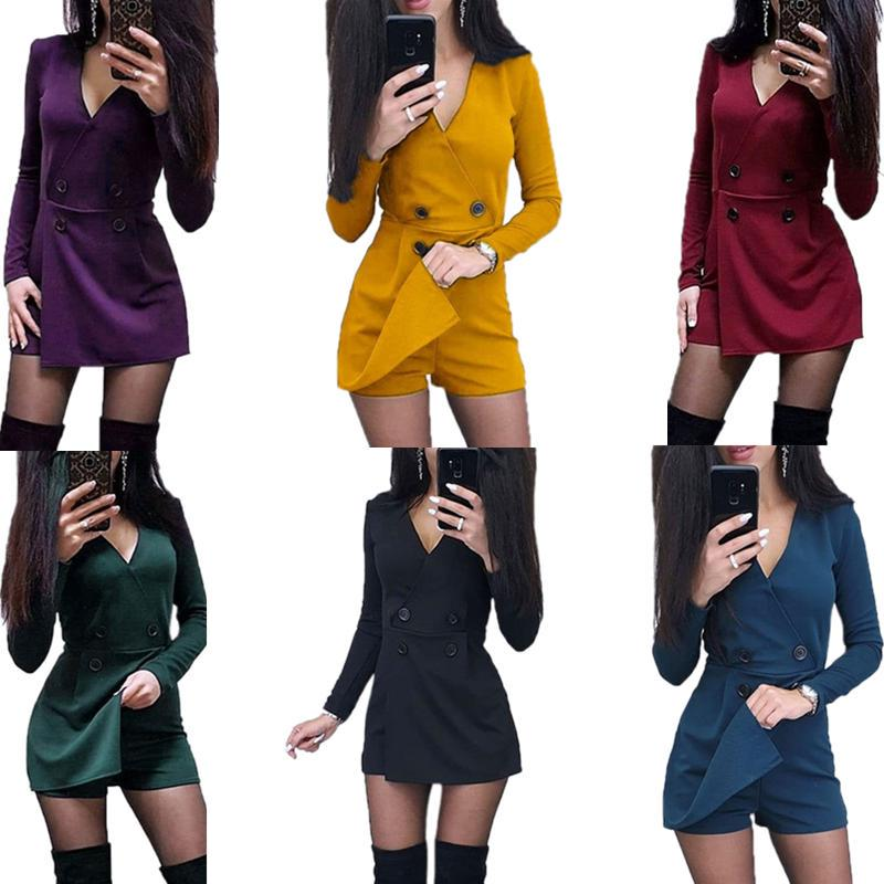 NEW Stylish Women/'s Short Sleeves Solid Backless Patchwork Bodycon Jumpsuit 2pcs