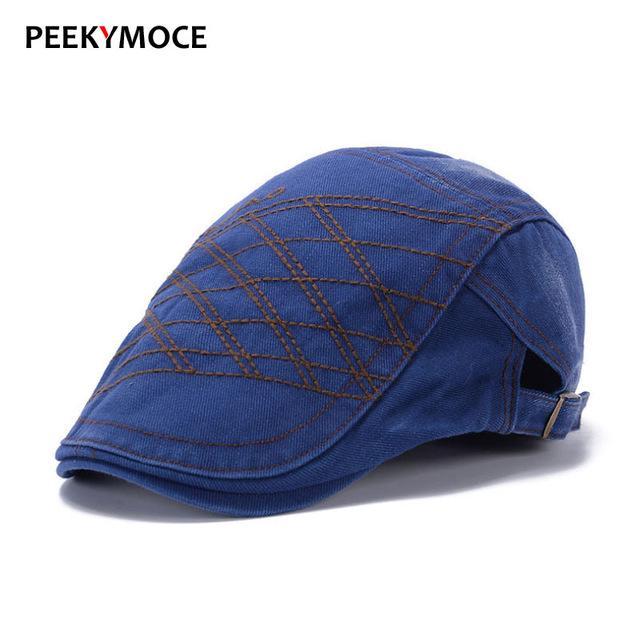 fad454e3709f5 Peekymoce retro boina chapéus feminino lazer Flat Caps para homens de  algodão Cap adulto casual bordado masculino