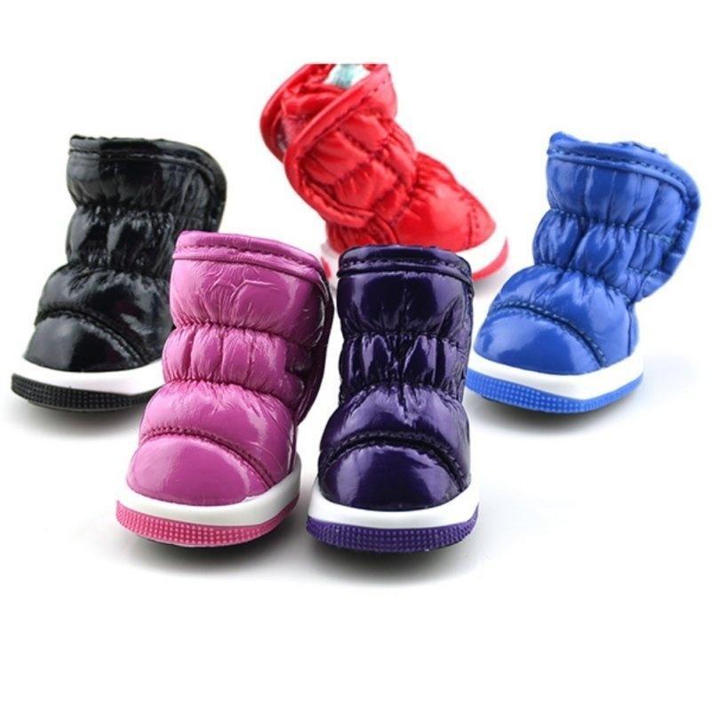 Зимние цветные ботиночки для собак из кожезаменителя фото