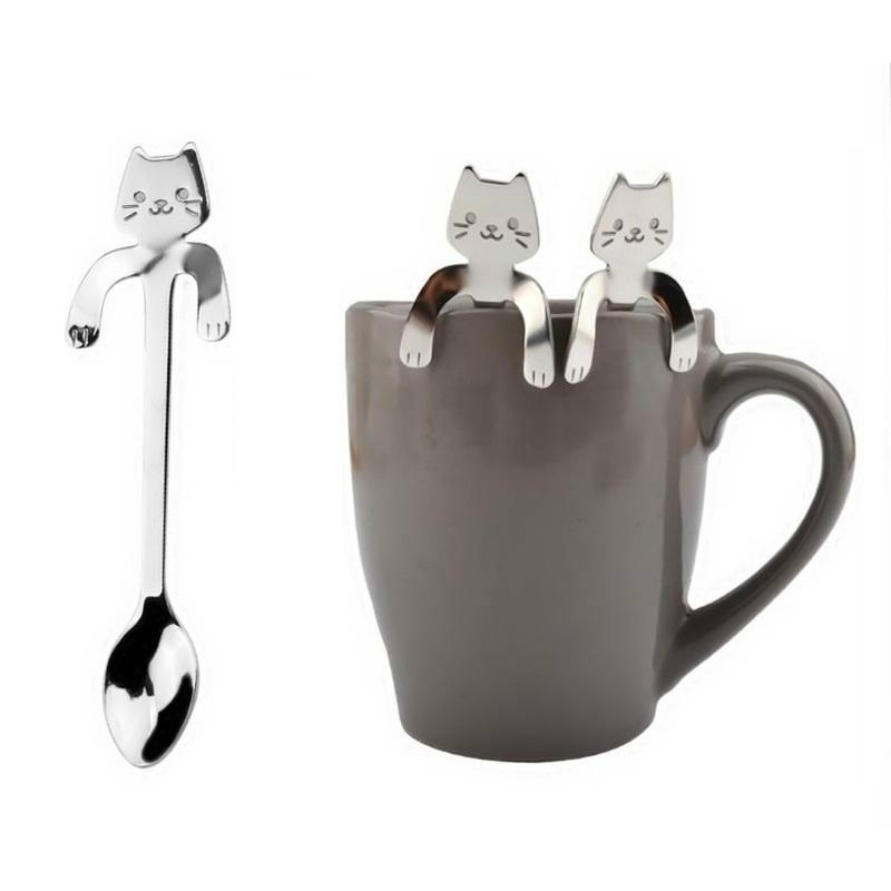 Campcookingsupplies Sports & Entertainment Camping Tableware Spoon Stainless Steel 304 Handle Cute Cartoon Cat Coffee Spoon Utensils For Outdoor Camping Cutlery Picnic Set 100% Original