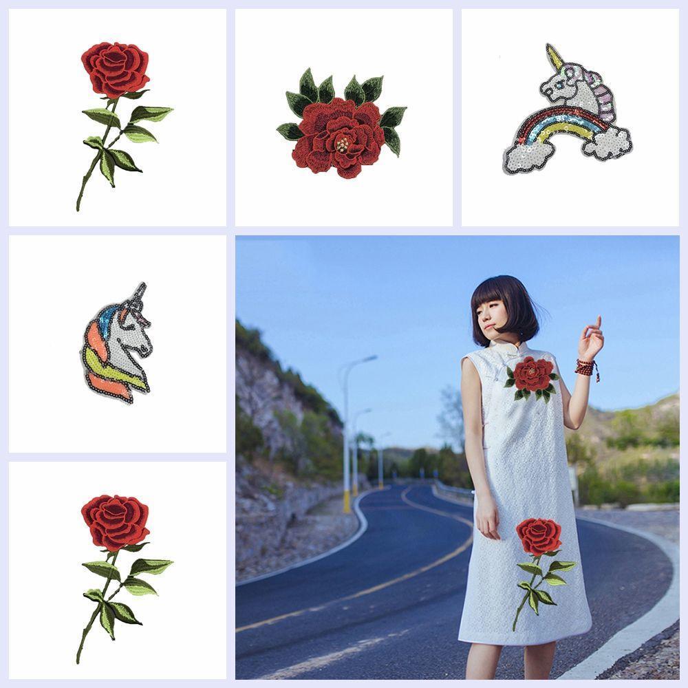 Rose Blumen Pailletten bestickt Eisen auf Patches für Kleidung Applikationen ZP