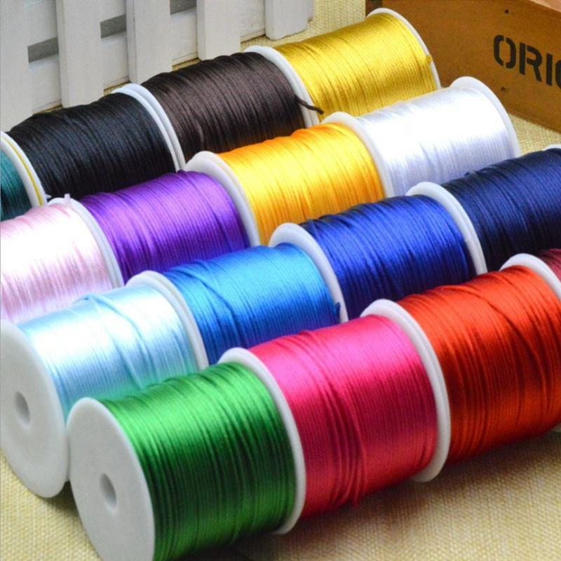 10M Silk Satin Rattail 2mm Cord Macrame Thread for Kumihimo Shamballa Gold.