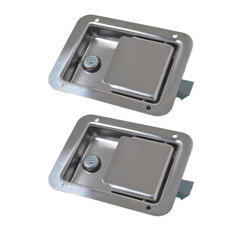 RV Travel Trailer Lock Entrance Door Tool Box Handle Latch Stainless Steel
