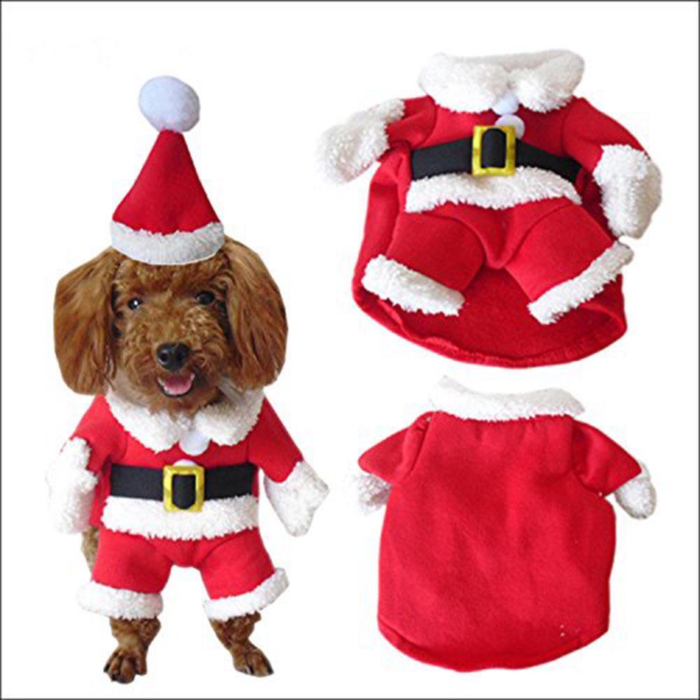 Pet Christmas Costume Dog Suit with Cap Santa Claus Coat Hoodies for ... f4cf499281ad