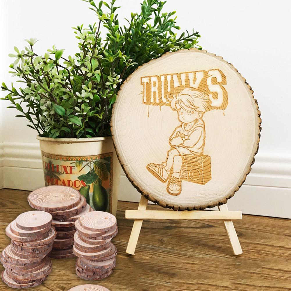 20x 3cm Bloques De Troncos De Madera Rebanadas Artesan/ías Decorativas Suministros De Boda R/ústicos