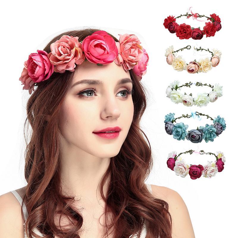 Pink Bridal Flower Headband Crown Beach Hairband Floral Garland Headpiece