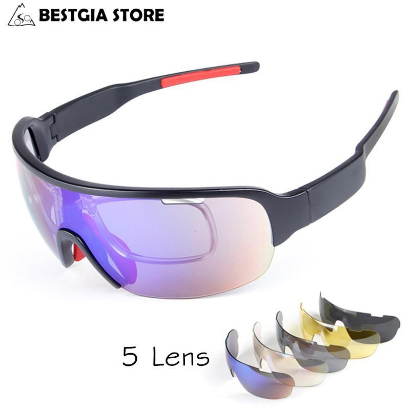 ab53b655a6 5 lente polarizado vidrios UV400 miopía marco Racing bicicleta TR90 ...