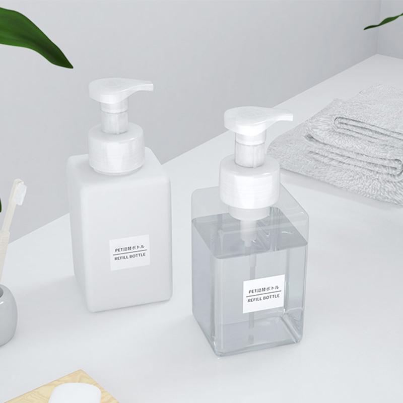 Transparent Modern Square Plastic Refillable Foam Soap Dispenser Pump Bottle