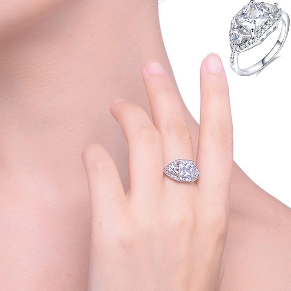 Fine Luxury Platinum Cubic Zircon Engagt Ring (US Size 5 6 7 8 9 10 ...