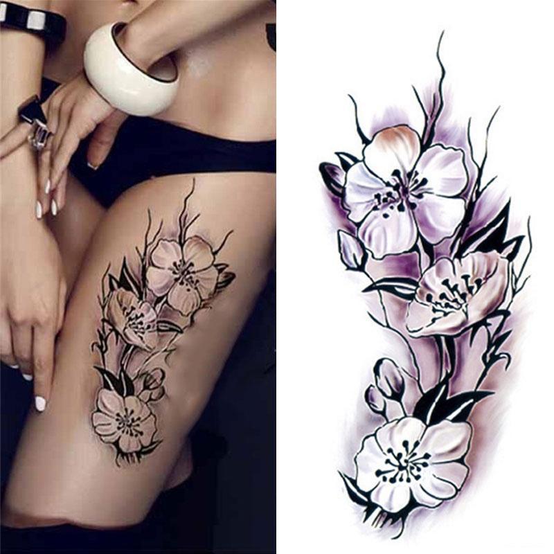 1 лист водонепроницаемый временную татуировку стикер сливы цвести дизайн DIY руку тела татуировки Art Термоаппликации фото