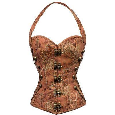 c8a75bf3f4 Women Steel Boned Corset Bustier Vintage Steampunk Gothic Tan Overbust  Shapers Waist Cincher Tops